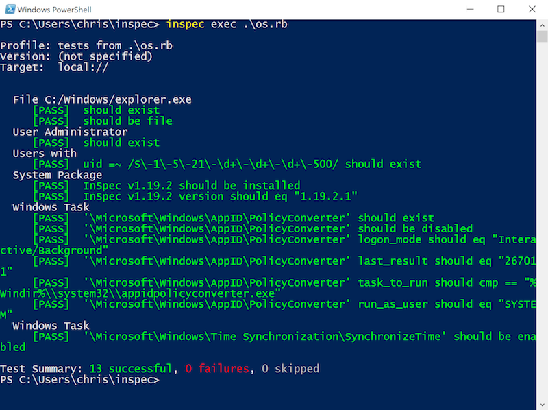 Windows Infrastructure Testing and Compliance with InSpec
