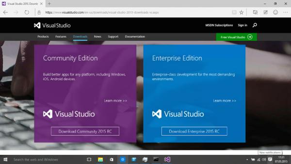 Visual Studio 2015 download